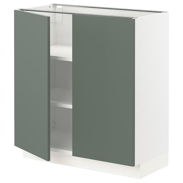 "SEKTION Base cabinet with shelves/2 doors, white/Bodarp gray-green, 30x15x30 """