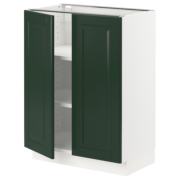 SEKTION Base cabinet with shelves/2 doors, white/Bodbyn dark green, 24x15x30 ""