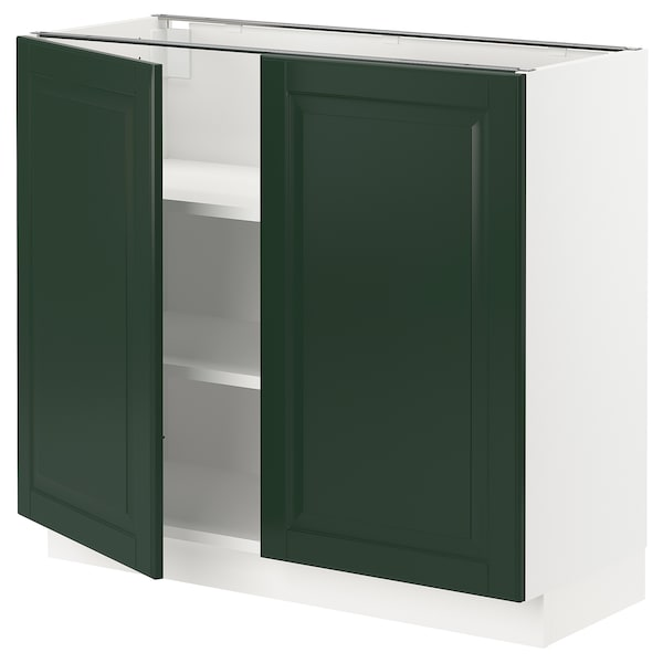 """SEKTION Base cabinet with shelves/2 doors, white/Bodbyn dark green, 36x15x30 """""""