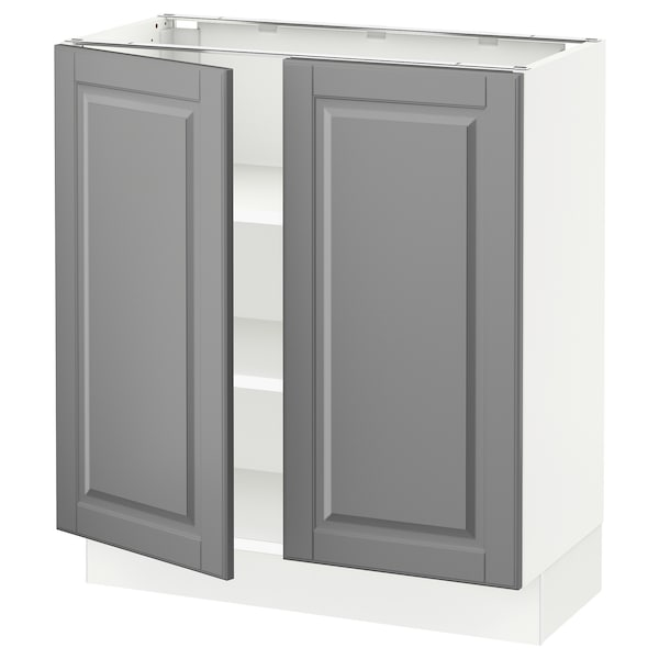 """SEKTION Base cabinet with shelves/2 doors, white/Bodbyn gray, 30x15x30 """""""