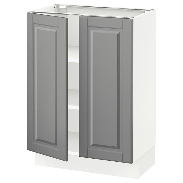 """SEKTION Base cabinet with shelves/2 doors, white/Bodbyn gray, 24x15x30 """""""