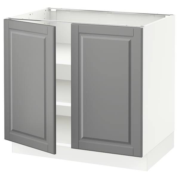 """SEKTION Base cabinet with shelves/2 doors, white/Bodbyn gray, 36x24x30 """""""