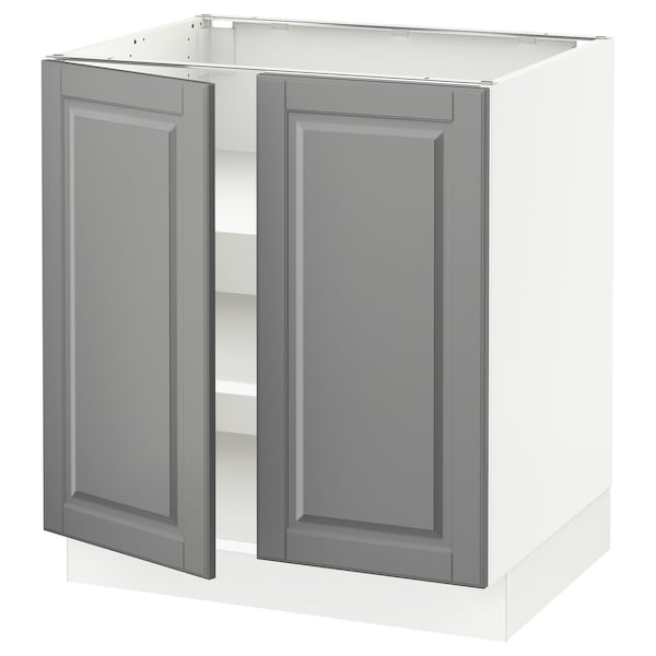 """SEKTION Base cabinet with shelves/2 doors, white/Bodbyn gray, 30x24x30 """""""