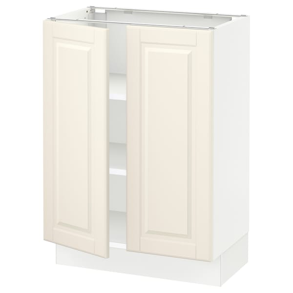 """SEKTION Base cabinet with shelves/2 doors, white/Bodbyn off-white, 24x15x30 """""""