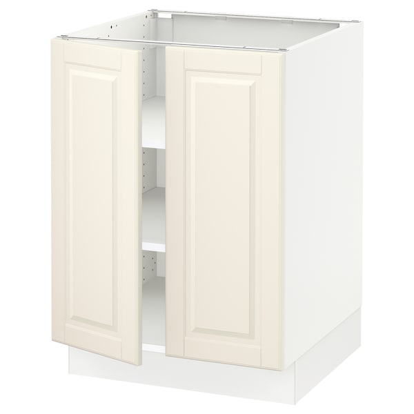 """SEKTION Base cabinet with shelves/2 doors, white/Bodbyn off-white, 24x24x30 """""""