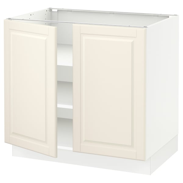 """SEKTION Base cabinet with shelves/2 doors, white/Bodbyn off-white, 36x24x30 """""""