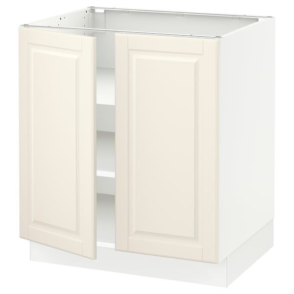 """SEKTION Base cabinet with shelves/2 doors, white/Bodbyn off-white, 30x24x30 """""""