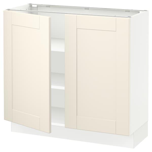 "SEKTION Base cabinet with shelves/2 doors, white/Grimslöv off-white, 36x15x30 """