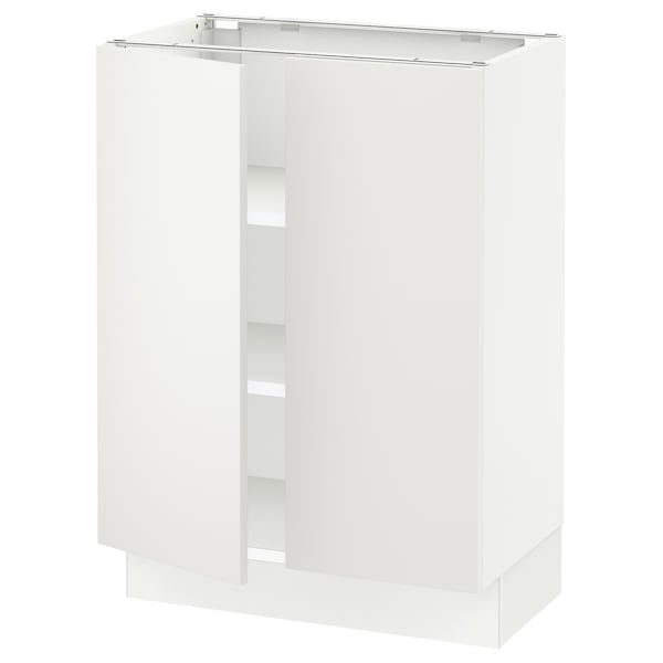 """SEKTION Base cabinet with shelves/2 doors, white/Häggeby white, 24x15x30 """""""