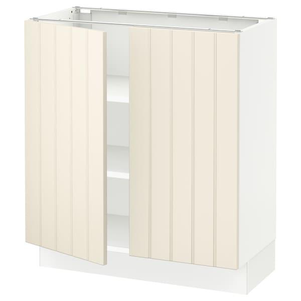 "SEKTION Base cabinet with shelves/2 doors, white/Hittarp off-white, 30x15x30 """