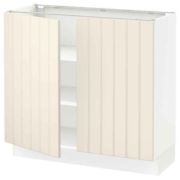 "SEKTION Base cabinet with shelves/2 doors, white/Hittarp off-white, 36x15x30 """
