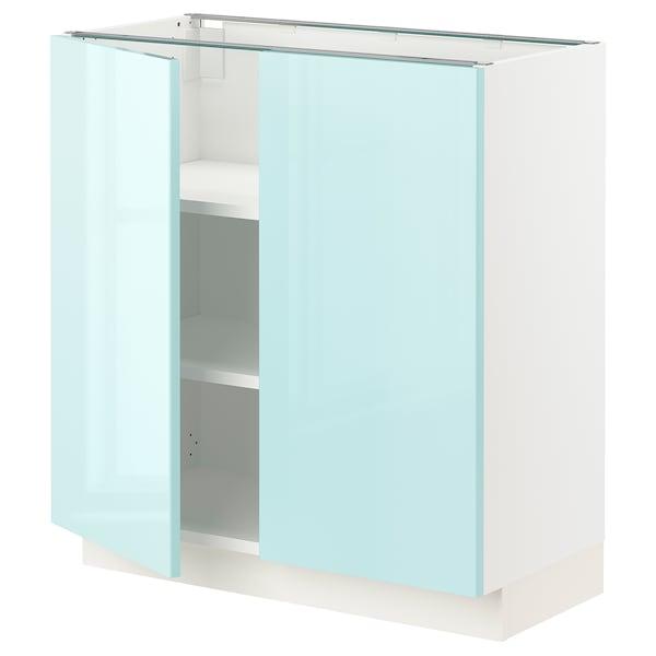 """SEKTION Base cabinet with shelves/2 doors, white Järsta/high gloss light turquoise, 30x15x30 """""""