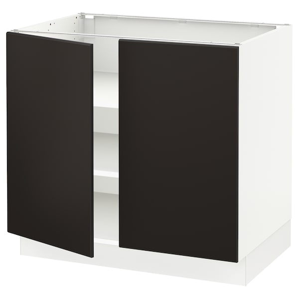 """SEKTION Base cabinet with shelves/2 doors, white/Kungsbacka anthracite, 36x24x30 """""""