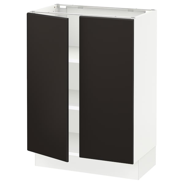 """SEKTION Base cabinet with shelves/2 doors, white/Kungsbacka anthracite, 24x15x30 """""""