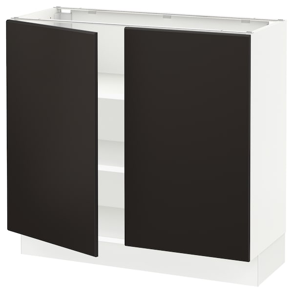 """SEKTION Base cabinet with shelves/2 doors, white/Kungsbacka anthracite, 36x15x30 """""""