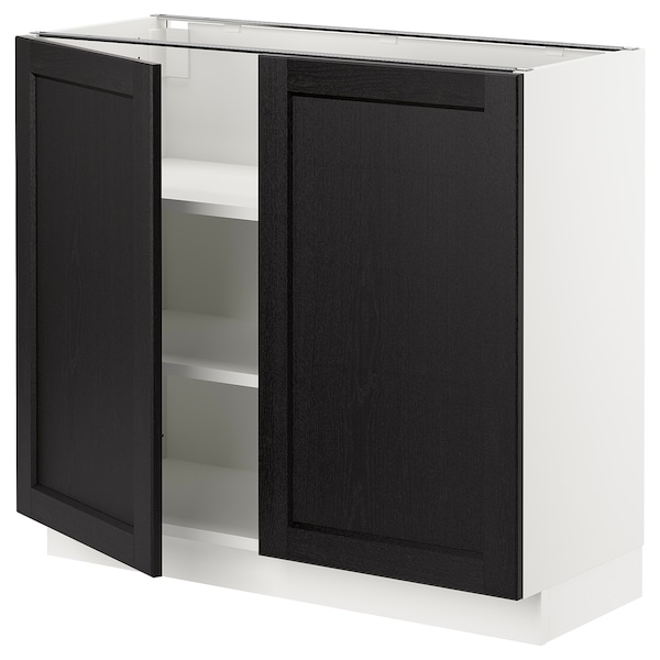 """SEKTION Base cabinet with shelves/2 doors, white/Lerhyttan black stained, 36x15x30 """""""
