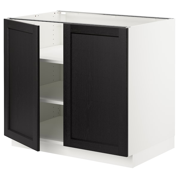 """SEKTION Base cabinet with shelves/2 doors, white/Lerhyttan black stained, 36x24x30 """""""