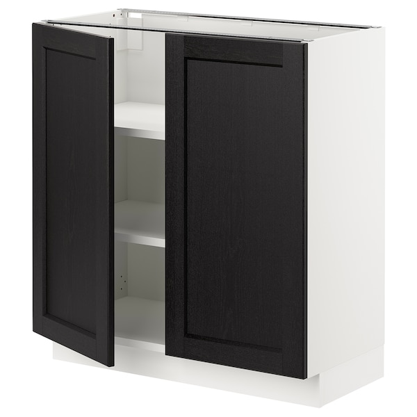 """SEKTION Base cabinet with shelves/2 doors, white/Lerhyttan black stained, 30x15x30 """""""