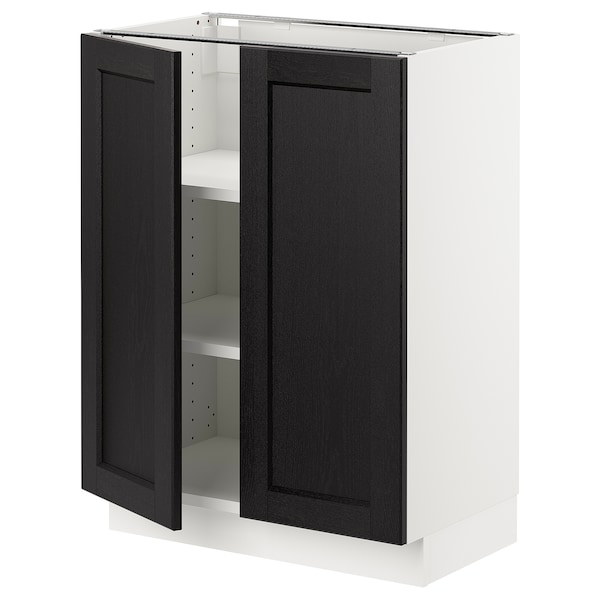 """SEKTION Base cabinet with shelves/2 doors, white/Lerhyttan black stained, 24x15x30 """""""