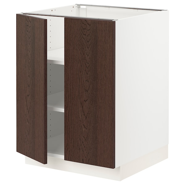 SEKTION Base cabinet with shelves/2 doors, white/Sinarp brown, 24x24x30 ""