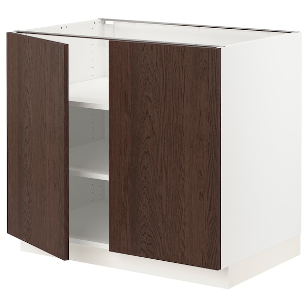 SEKTION Base cabinet with shelves/2 doors, white/Sinarp brown, 36x24x30 ""