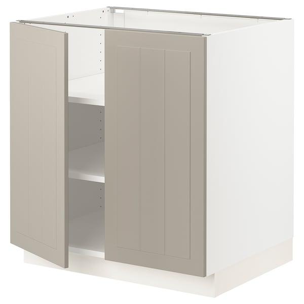 """SEKTION Base cabinet with shelves/2 doors, white/Stensund beige, 30x24x30 """""""
