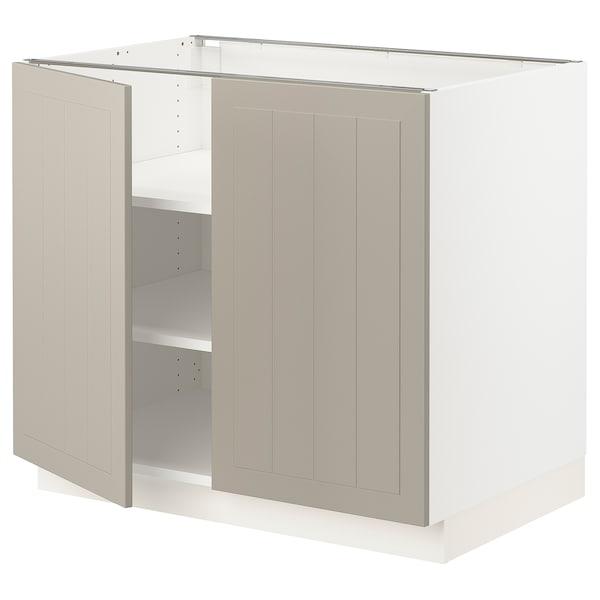 """SEKTION Base cabinet with shelves/2 doors, white/Stensund beige, 36x24x30 """""""