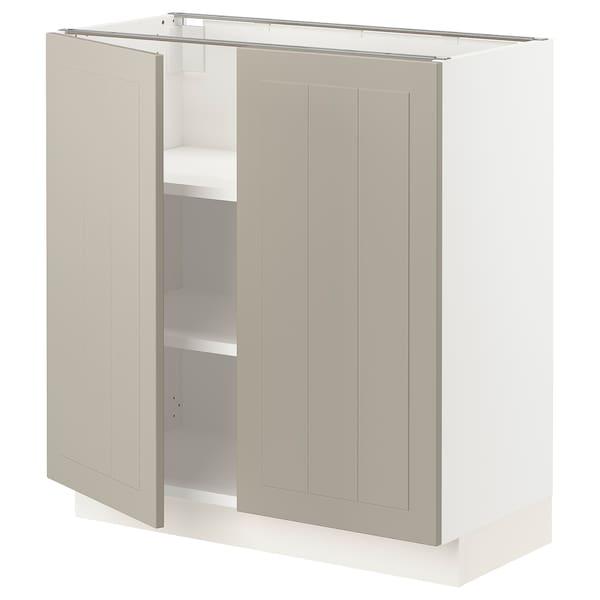 """SEKTION Base cabinet with shelves/2 doors, white/Stensund beige, 30x15x30 """""""