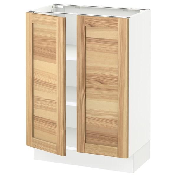 "SEKTION Base cabinet with shelves/2 doors, white/Torhamn ash, 24x15x30 """
