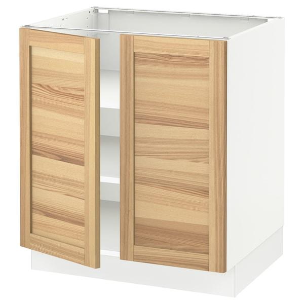 "SEKTION Base cabinet with shelves/2 doors, white/Torhamn ash, 30x24x30 """