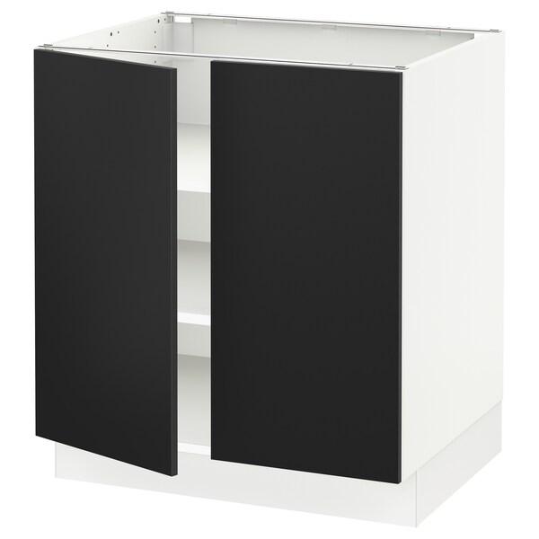 """SEKTION Base cabinet with shelves/2 doors, white/Uddevalla anthracite, 30x24x30 """""""