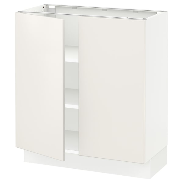 """SEKTION Base cabinet with shelves/2 doors, white/Veddinge white, 30x15x30 """""""