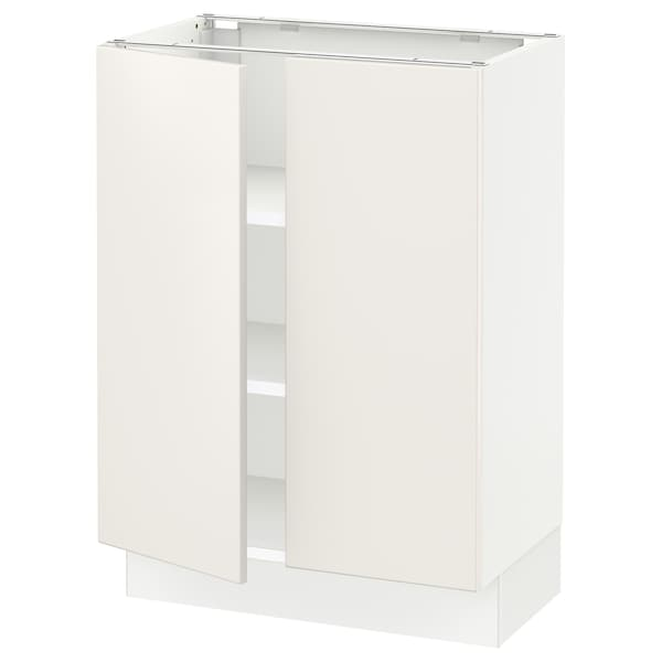 SEKTION Base cabinet with shelves/2 doors, white/Veddinge white, 24x15x30 ""