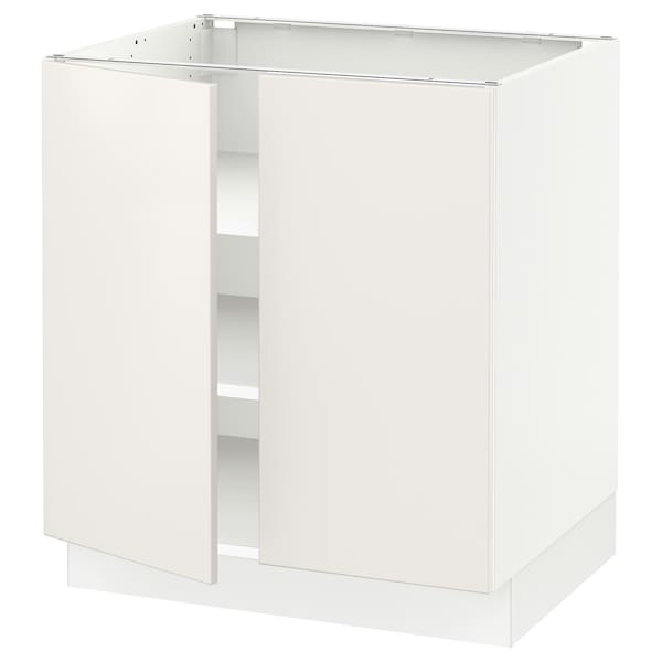 SEKTION Base cabinet with shelves/2 doors, white/Veddinge white, 30x24x30 ""