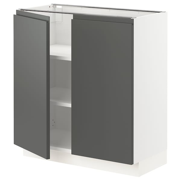 """SEKTION Base cabinet with shelves/2 doors, white/Voxtorp dark gray, 30x15x30 """""""