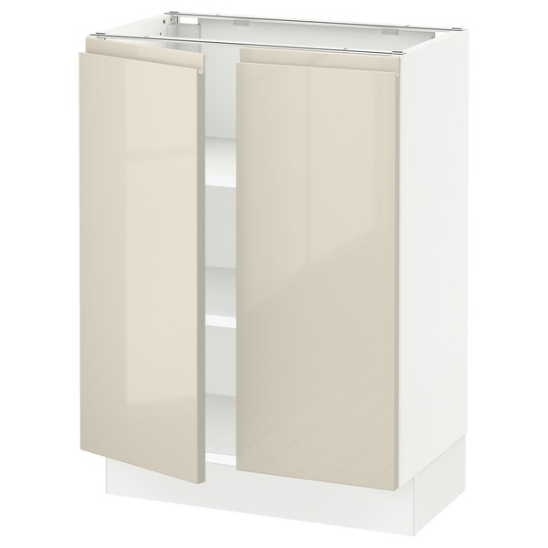SEKTION Base cabinet with shelves/2 doors, white/Voxtorp high-gloss light beige, 24x15x30 ""