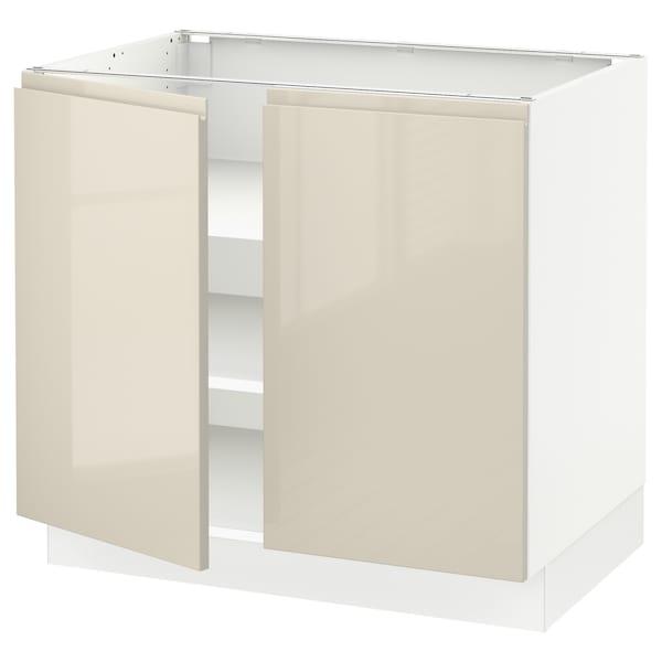 "SEKTION Base cabinet with shelves/2 doors, white/Voxtorp high-gloss light beige, 36x24x30 """