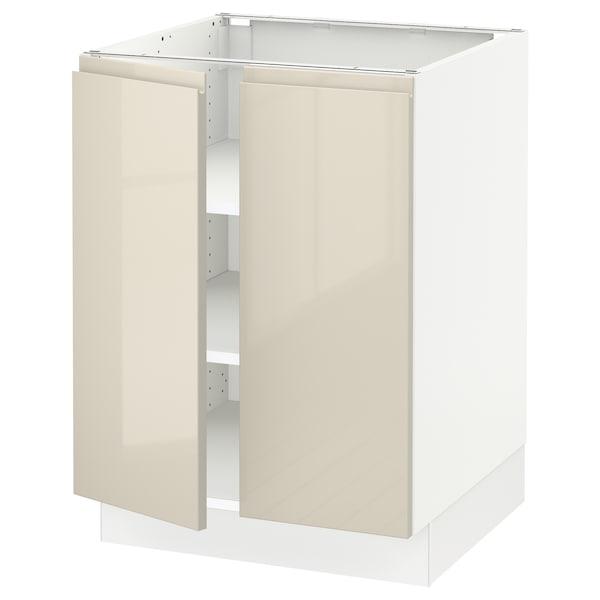 "SEKTION Base cabinet with shelves/2 doors, white/Voxtorp high-gloss light beige, 24x24x30 """