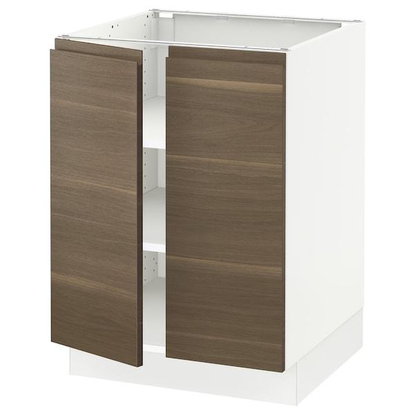 "SEKTION Base cabinet with shelves/2 doors, white/Voxtorp walnut effect, 24x24x30 """