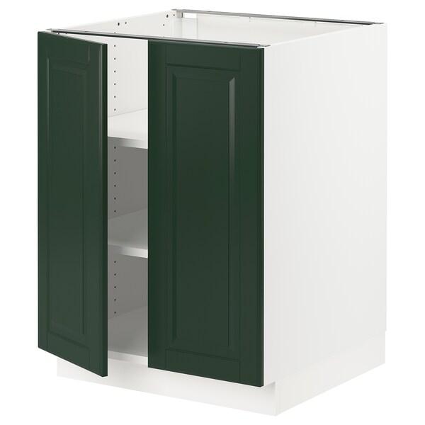 "SEKTION base cabinet with shelves/2 doors white/Bodbyn dark green 24 "" 24 "" 24 3/4 "" 30 """