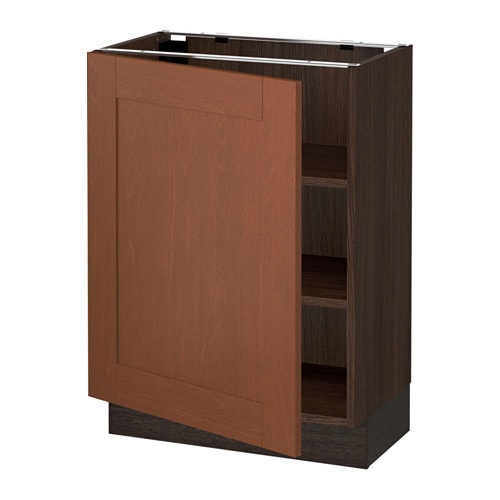 Sektion base cabinet with shelves wood effect brown for Wood effect kitchen cupboards