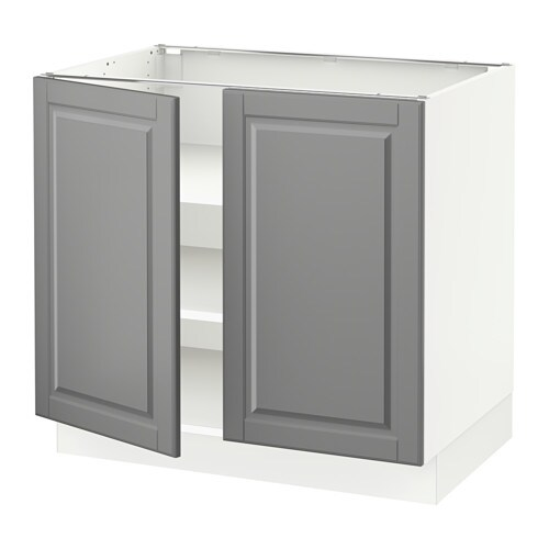 Sektion base cabinet with shelves 2 doors white bodbyn for Ikea base cabinets