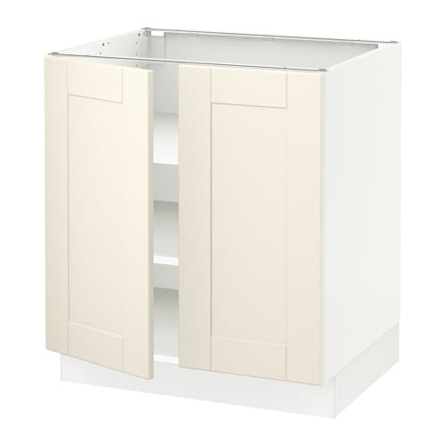 Sektion base cabinet with shelves 2 doors white for Off the shelf cabinets