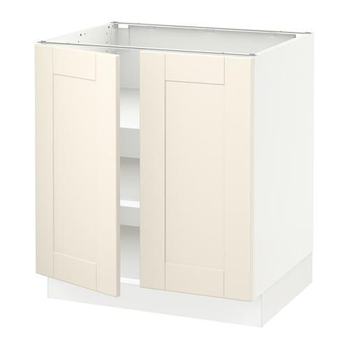 Sektion Base Cabinet With Shelves2 Doors White Grimslv Off