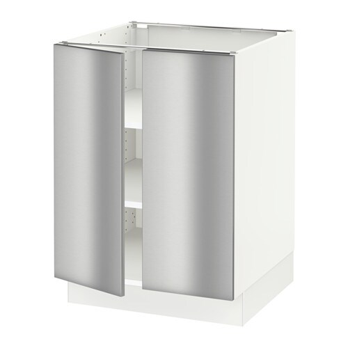 sektion base cabinet with shelves 2 doors white grevsta. Black Bedroom Furniture Sets. Home Design Ideas