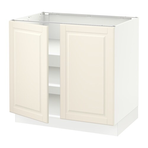Sektion base cabinet with shelves 2 doors white bodbyn for Off the shelf cabinets