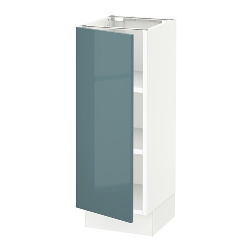 Sektion Base Cabinet With Shelves Kallarp High Gloss Gray Turquoise 12x15x30 Ikea