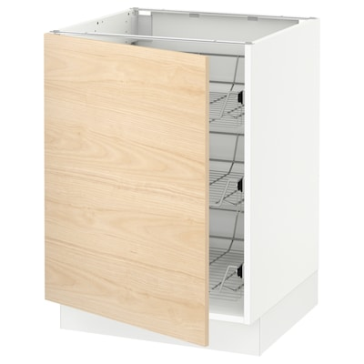 """SEKTION Base cabinet with wire baskets, white/Askersund light ash effect, 24x24x30 """""""
