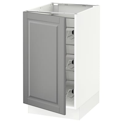 """SEKTION Base cabinet with wire baskets, white/Bodbyn gray, 18x24x30 """""""