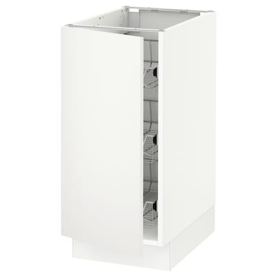 SEKTION Base cabinet with wire baskets, white/Häggeby white, 15x24x30 ""